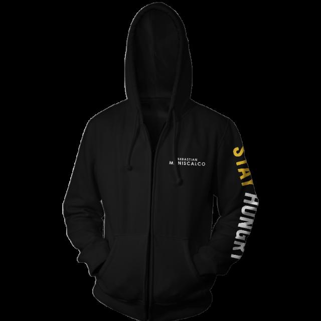 Stay Hungry Logo Black Zip Up Hoodie