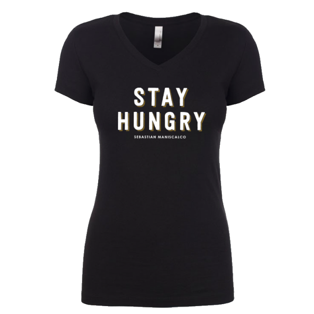 Stay Hungry Ladies Black Fitted Tee