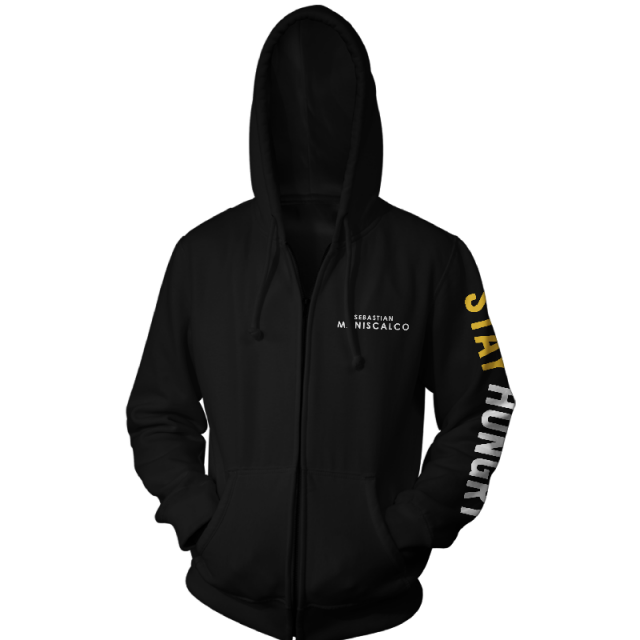 Stay Hungry Logo Black Zip Up Hoodie